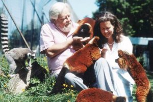 Lee Durrell and Gerald Durrell with Lemurs in Jersey Zoo